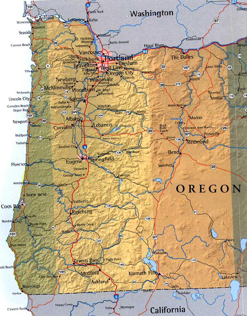 Oregon Map Image.Map Of Western Oregon Usa